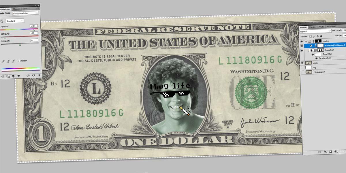 Hasselhoff Dollar - Tutorial Photoshop: Ferramentas, Crop, Varinha de Condão e Máscaras